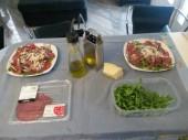 arugola, bresaola (carne de caballo) y queso parmeggiano reggiano